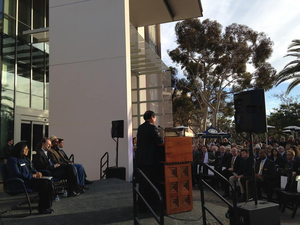 A scene from UCSB Library's grand reopening today