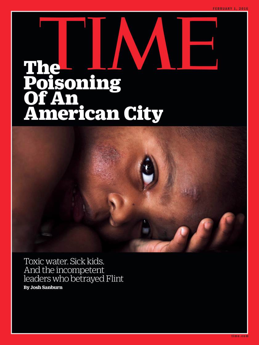 Time magazine's cover featuring the story of contaminated water in Flint, Michigan