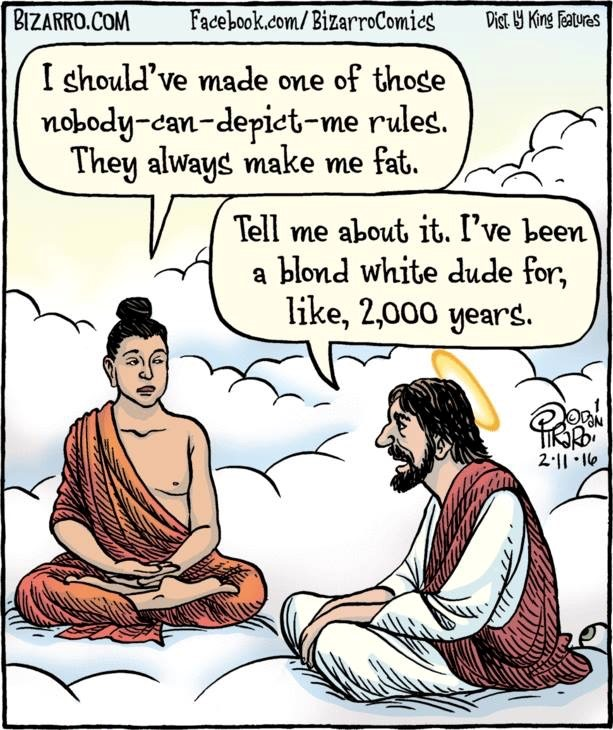 Cartoon showing Buddha talking to Jesus on the clouds
