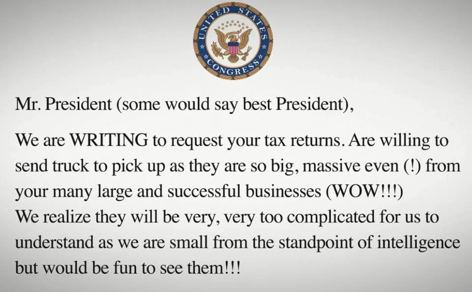 newest ee8b0 87d15 Humor  Suggested letter for requesting Trump s tax returns