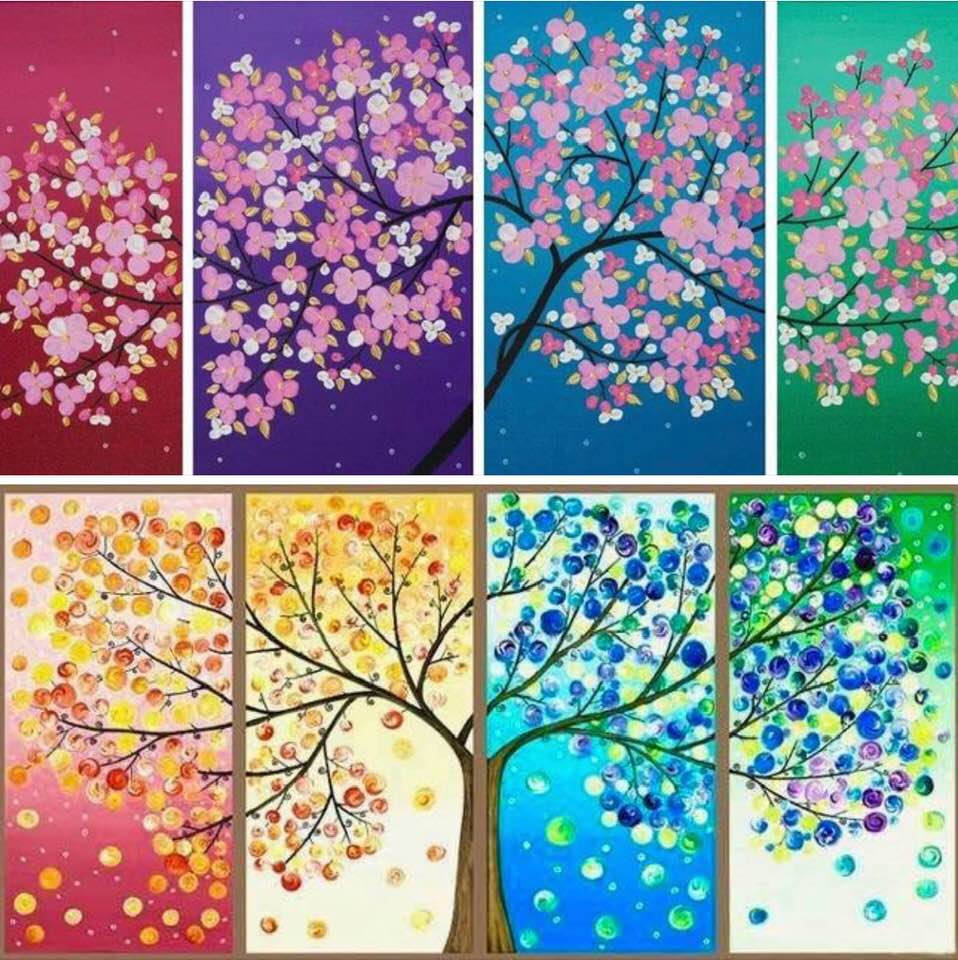 wholesale dealer 82ed5 a797a Two multi-panel paintings representing the four seasons (likely by the same  artist, ...