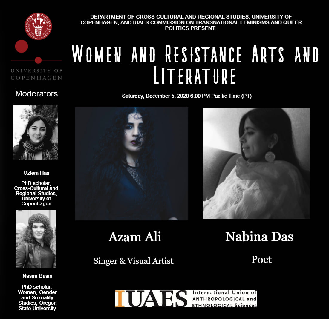 Webinar on 'Women and Resistance Arts and Literature': Webinar flyer