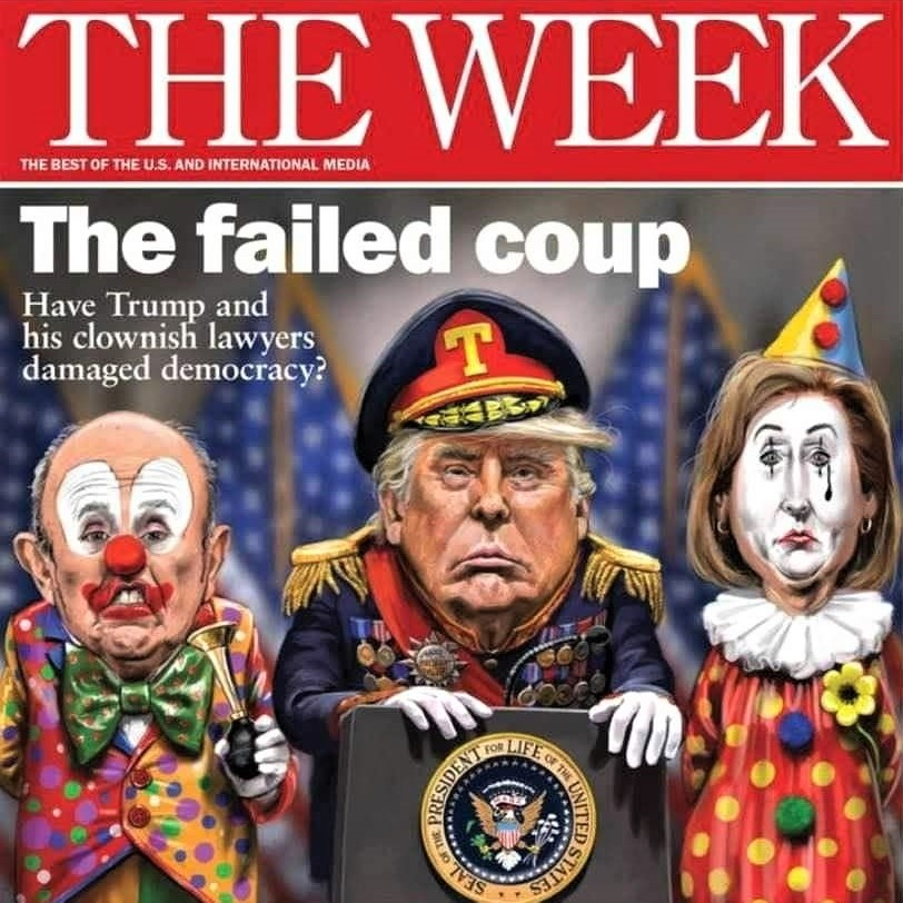 Cover image of 'The Week,' portraying a would-be dictator and his clownish legal team