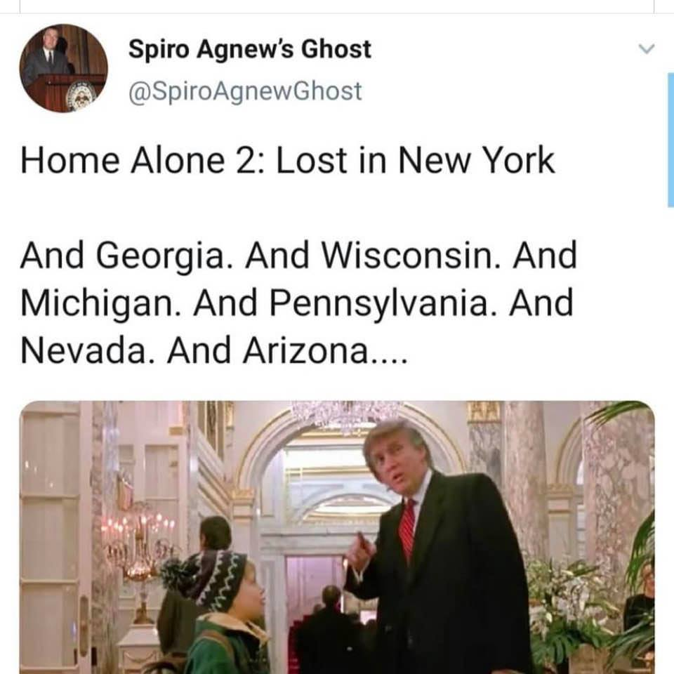 Tweet: 'Home Alone 2: Lost in New York ... And Georgia. And Wisconsin. And Michigan. And Pennsylvania. And Nevada. And Arizona. ...'