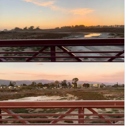 Looking west and east on the main bridge at UCSB North Campus Open Space, during my afternoon walk on Monday, 12/07