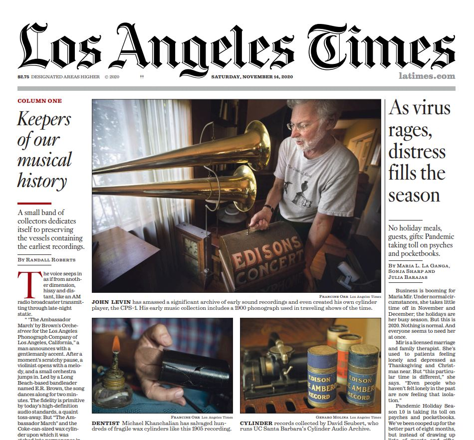 'Los Angeles Times' features UCSB Library's Cylinder Audio Archive