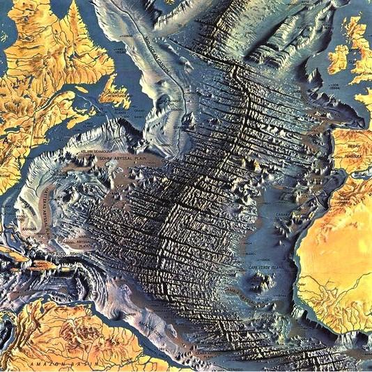 Topographic image of the Atlantic Ocean