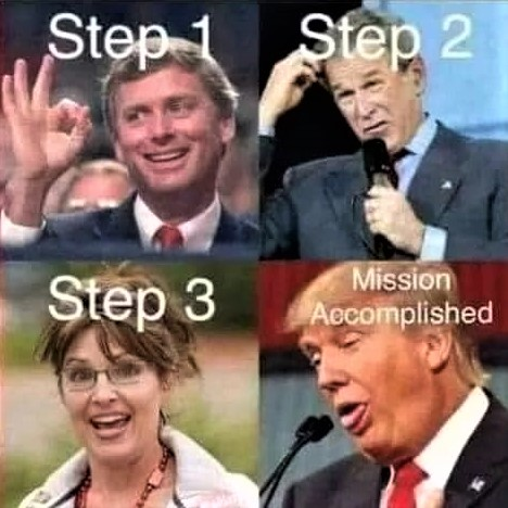 Meme: Steps of the mission to dumb-down America!