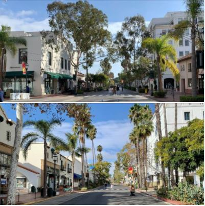 Santa Barbara downtown on Friday, December 11, 2020, looked like a ghost town
