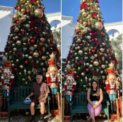 With my daughter at Santa Barbara's Paseo Nuevo Shopping Center on 12/11