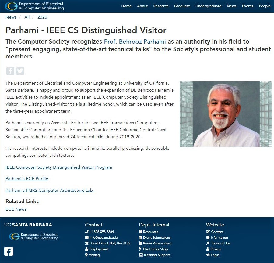 Announcement of my selection as an IEEE Computer Society Distinguished Visitor
