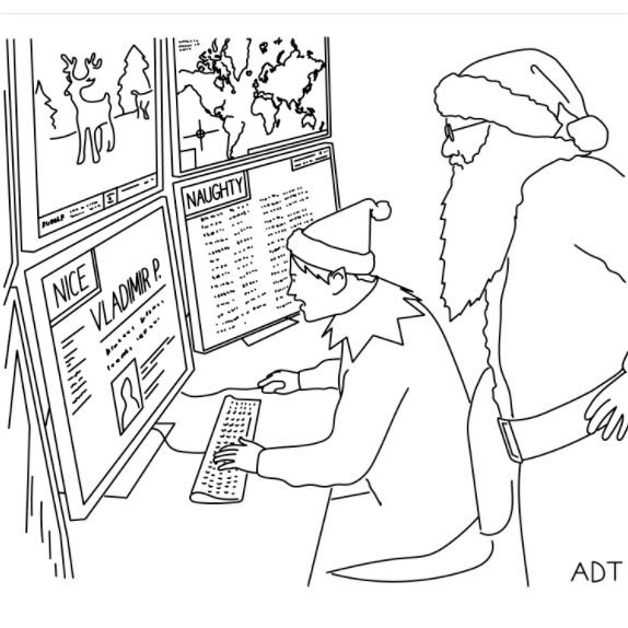 Cartoon: Either Vladimir's behavior has improved dramatically, or the Naughty and Nice Database has been hacked