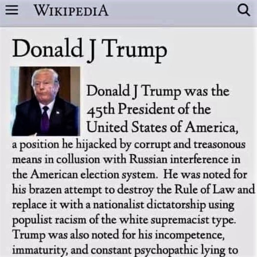 Fake Wikipedia entry for Donald Trump