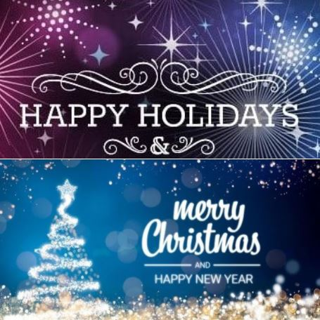 Happy holidays! May you have a merry Christmas and a joyous and bright New Year!