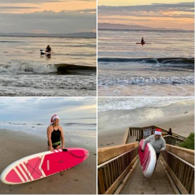 Photos of my daughter paddle-boarding yesterday on UCSB West Campus Beach