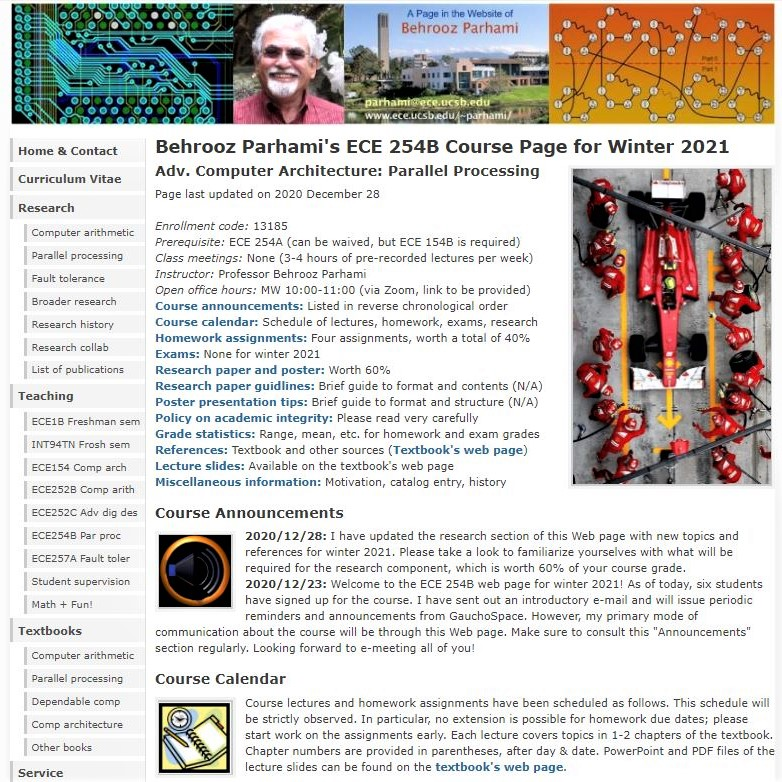 My winter 2021 UCSB grad course on parallel processing: Top of the Web page