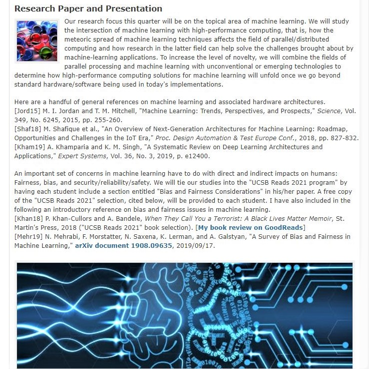My winter 2021 UCSB grad course on parallel processing: Research section of the Web page