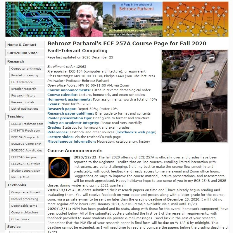 My fall 2020 UCSB grad course on fault-tolerant computing: Top of the Web page
