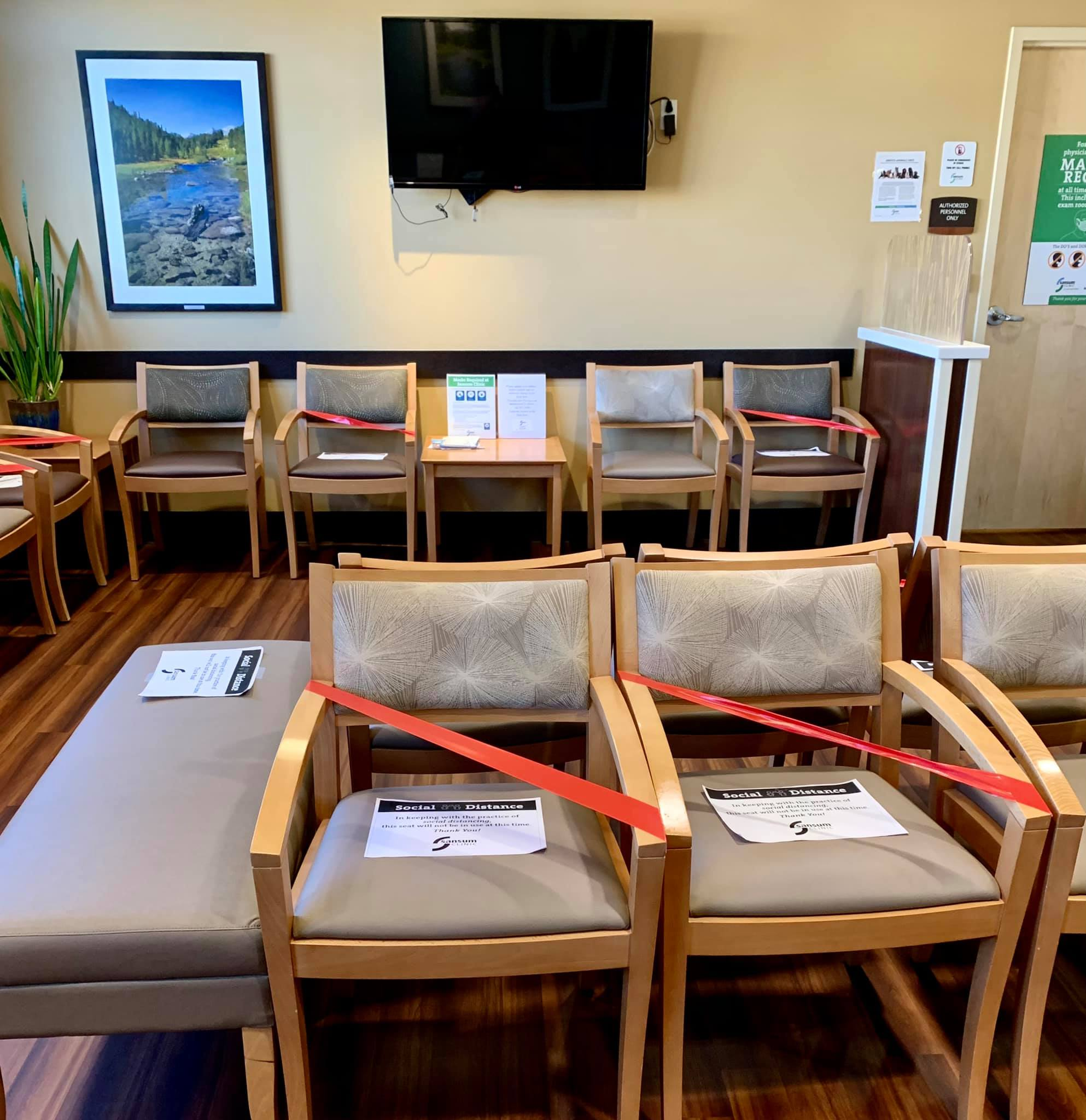 Typical medical-clinic waiting room these days!