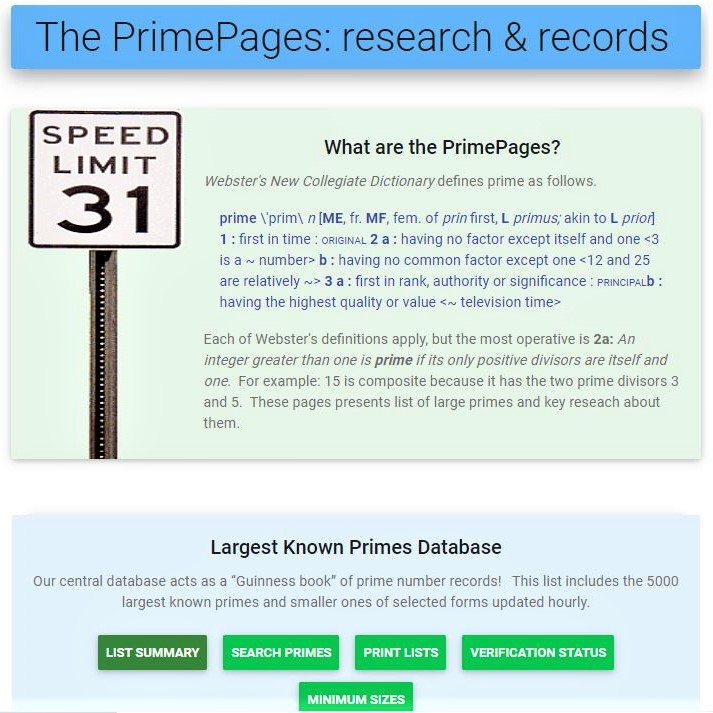 Image of the first page of the Web site 'The PrimePages'