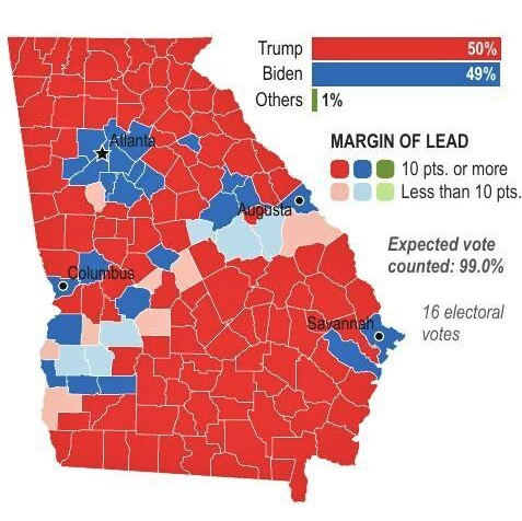 Georgia's red and blue counties during the 2021 Senate runoff races