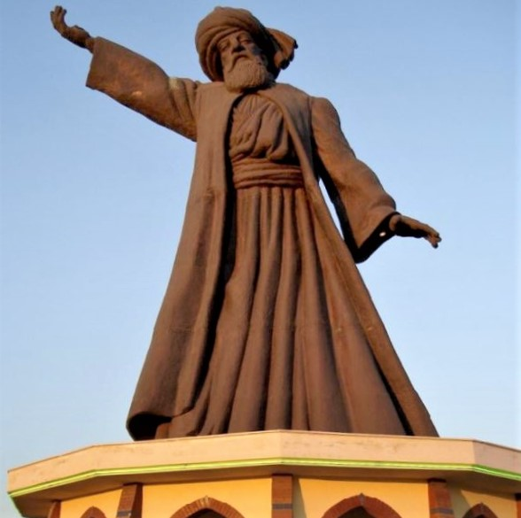 Statue of beloved Persian poet/mystic Mowlavi (Rumi) in Buca, Izmir, Turkey