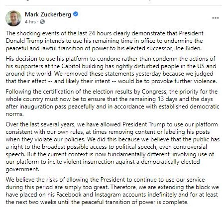 Mark Zuckerberg explains why Facebook has blocked Trump from posting