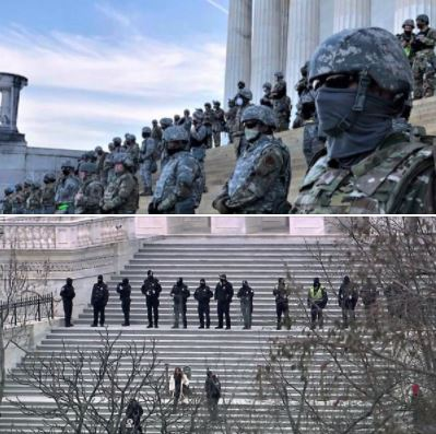 US Capitol steps, during the BLM protests and yesterday's MAGA mob assault