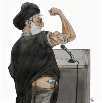 Cartoon: Khamenei gets vaccinated himself, while banning the purchase of American and British vaccines