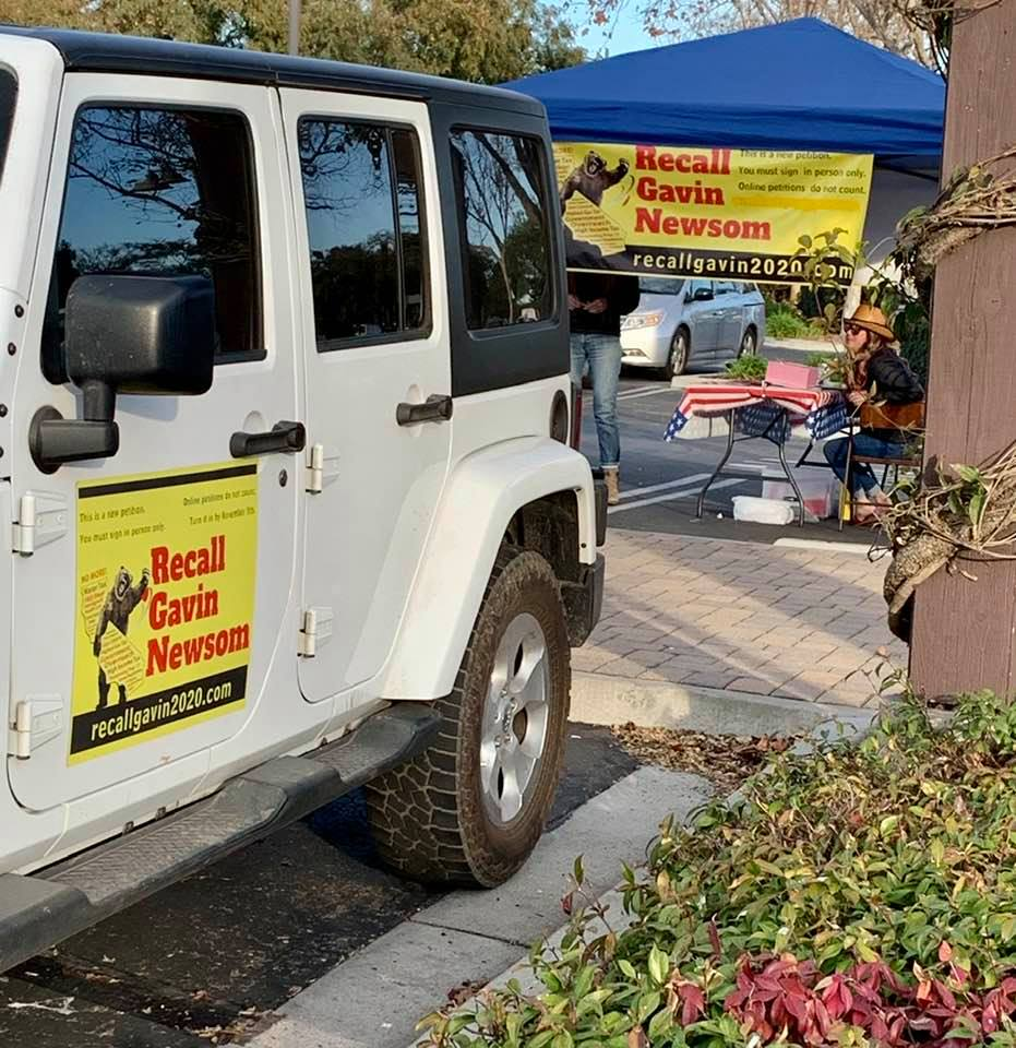 Group set up at Goleta's Camino Real Marketplace as part of the well-funded effort to recall Governor Gavin Newsom