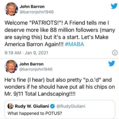 Twitter parodies multiply, after Donald Trump, aka John Barron, is banned from the platform