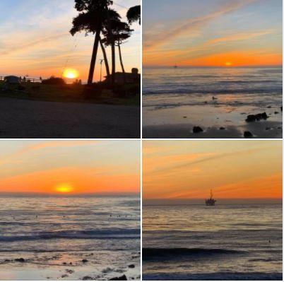Sunset on Goleta's Coal Oil Point Sand Beach: Monday, January 11, 2021.