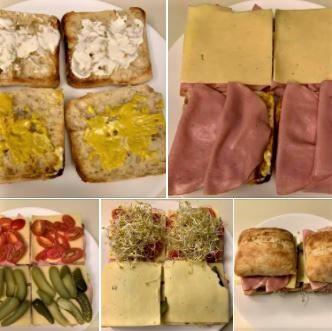Turkey sandwiches, with preparation steps shown
