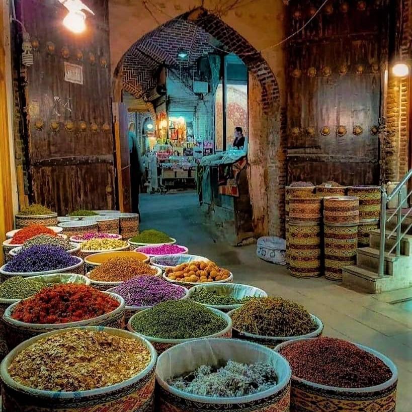 Bazaar spice shop in Tabriz, Iran