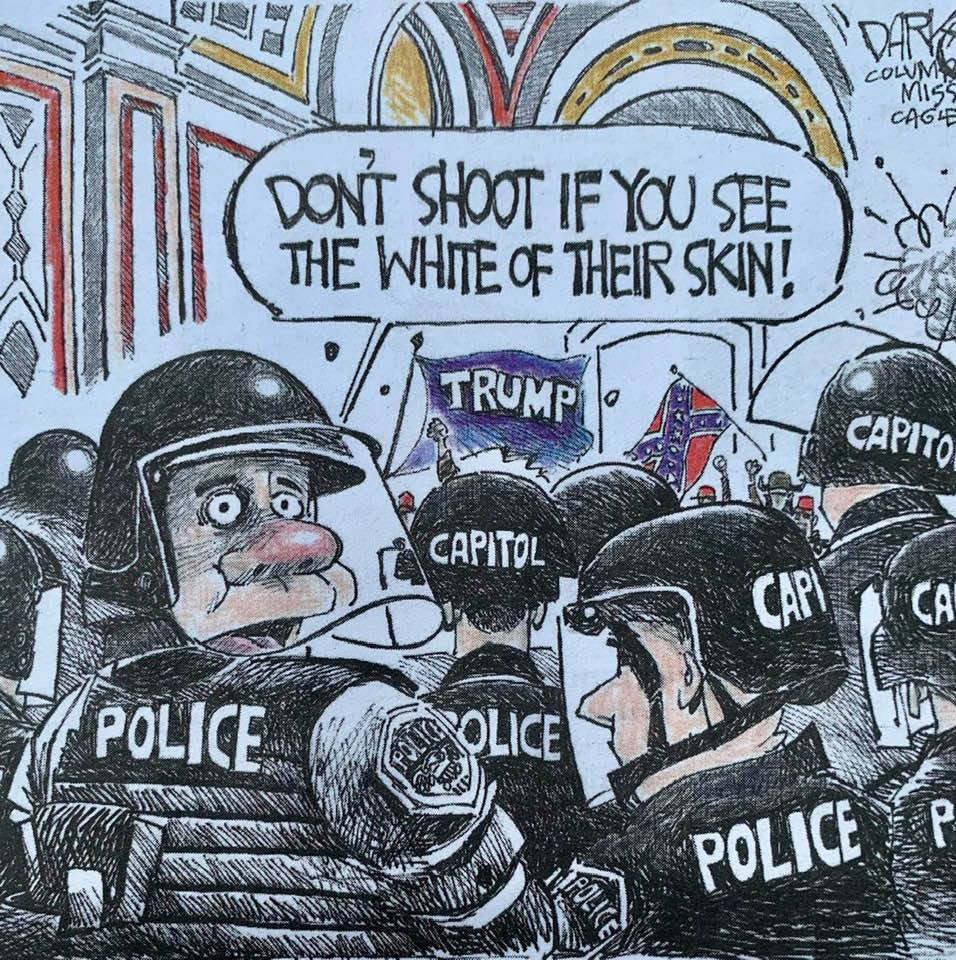 Cartoon from this week's Santa Barbara Independent: 'Don't shoot if you see the white of their skin'