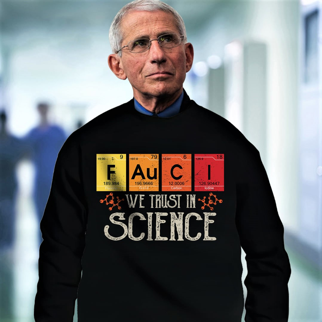 T-shirt for those who trust in science: F Au C I (Fluorine, Gold, Carbon, Iodine)