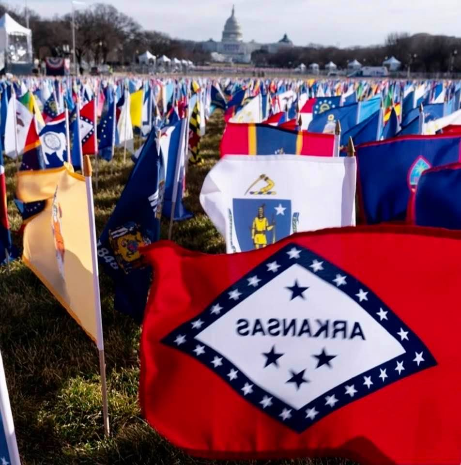 In lieu of a huge crowd, the DC National Mall was filled with 200,000 US, state, and territory flags