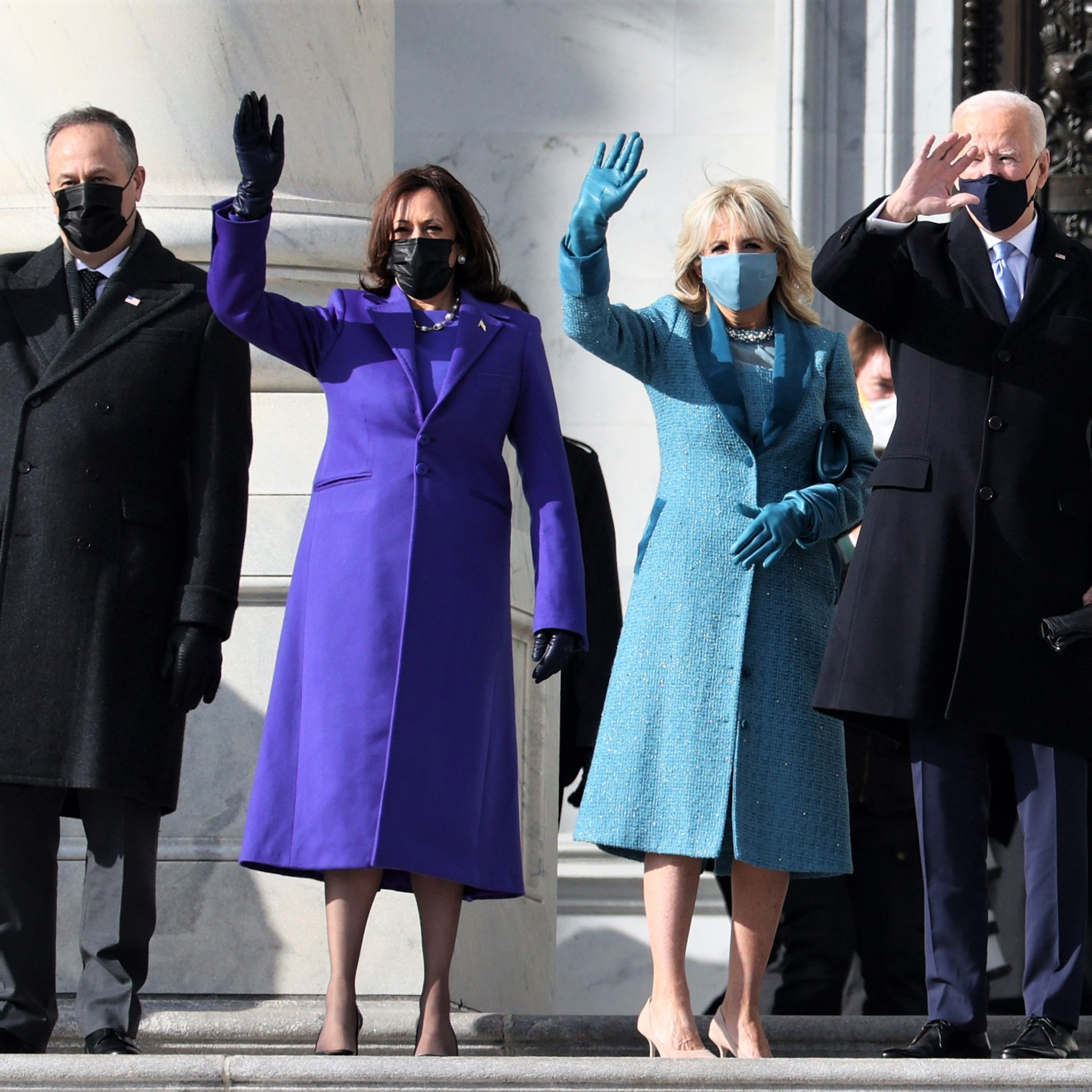 Joe Biden, Kamala Harris, and their spouses at the Capitol for inauguration