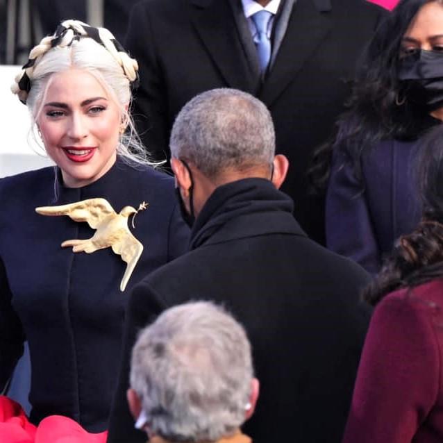 Lady Gaga greets former President Obama at the 2021 inauguration
