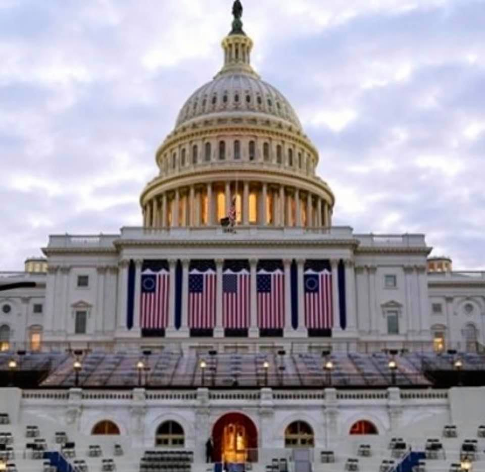 The US Capitol building on inauguration day