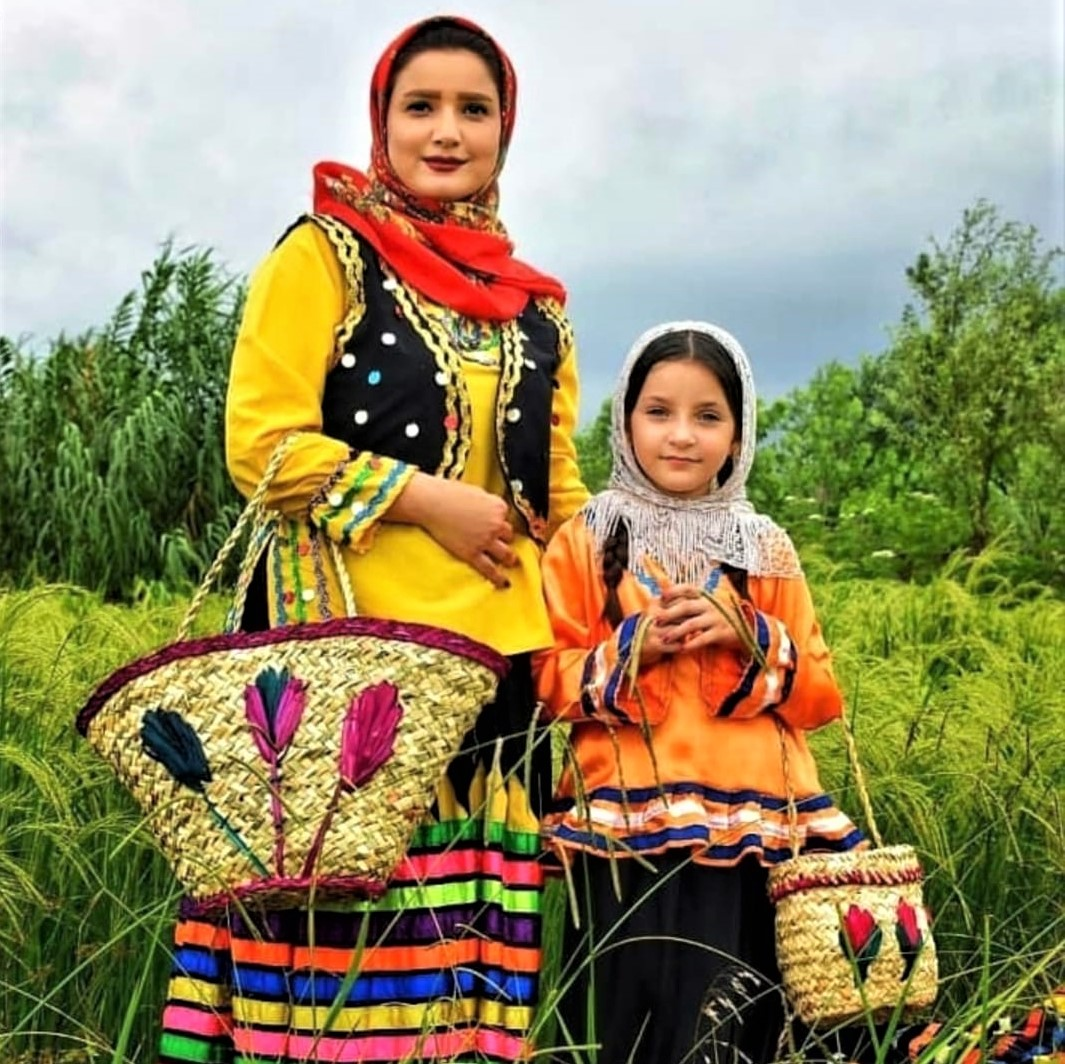 Iran's regional fashions: Woman and girl from Lahijan, Guilan Province