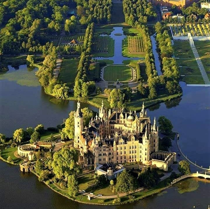 Fine example of Europe's historical architecture: Schwerin Castle in Germany, completed in 1857