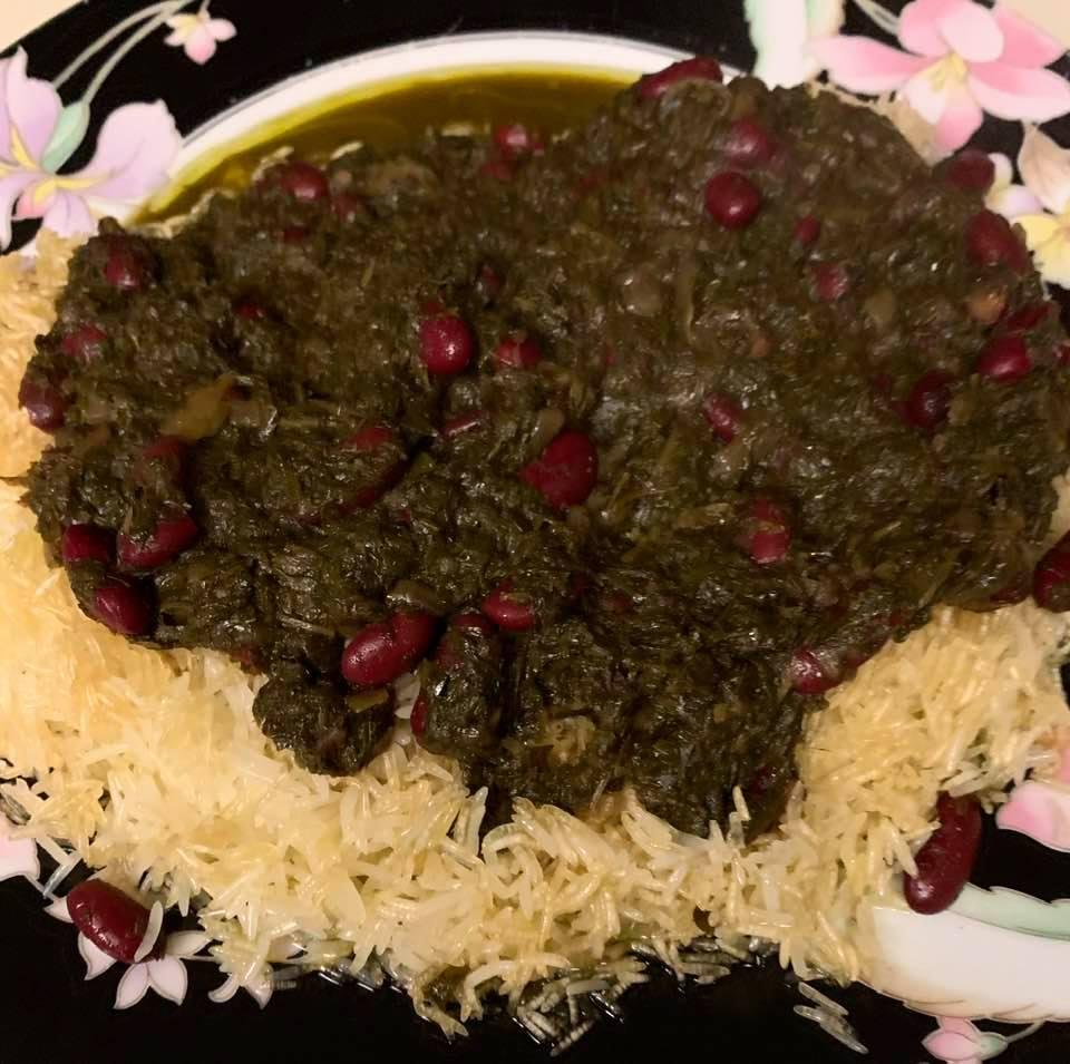 Persian cuisine: Tah-dig (crispy rice) with ghormeh-sabzi stew