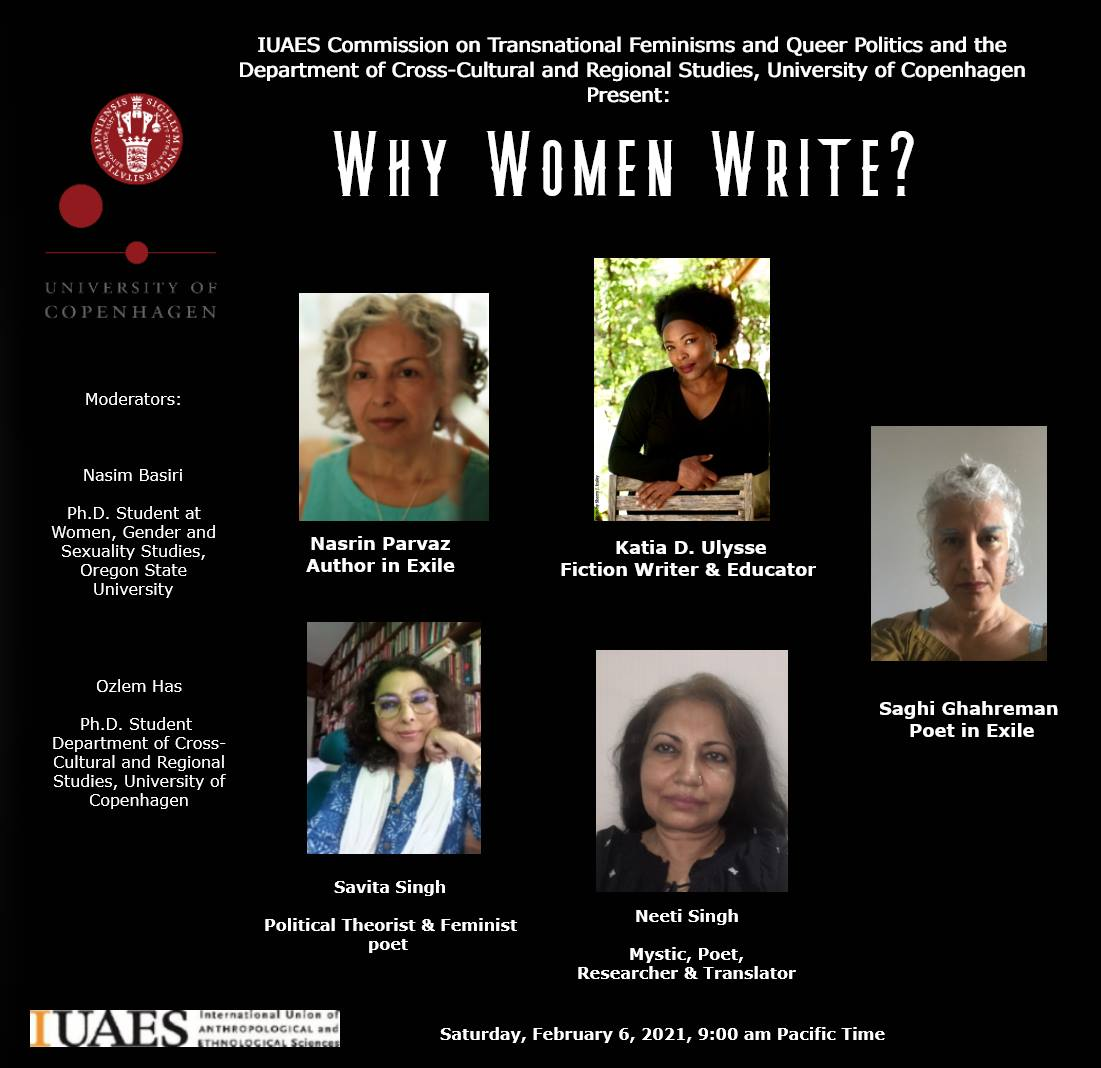 Flyer for Panel 2 on 'Why Women Write'