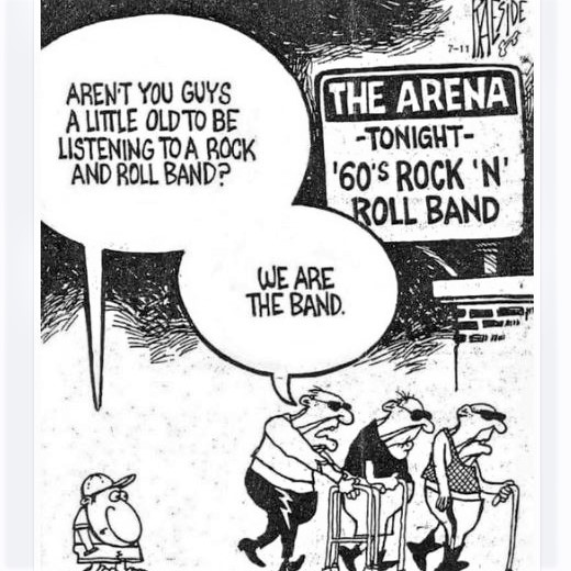 Cartoon: On concerts by 1960s rock-n-roll bands