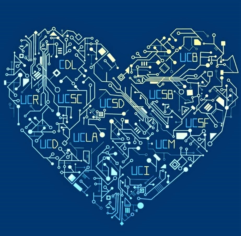 Heart-shaped printed circuit: University of California loves technology!