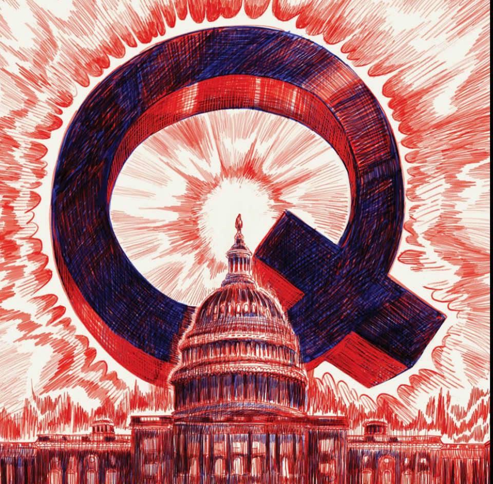 QAnon logo over the Capitol Building