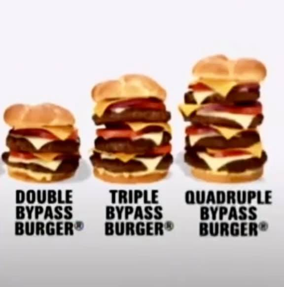Some of the burgers offered by Heart Attack Grill in Chandler, Arizona