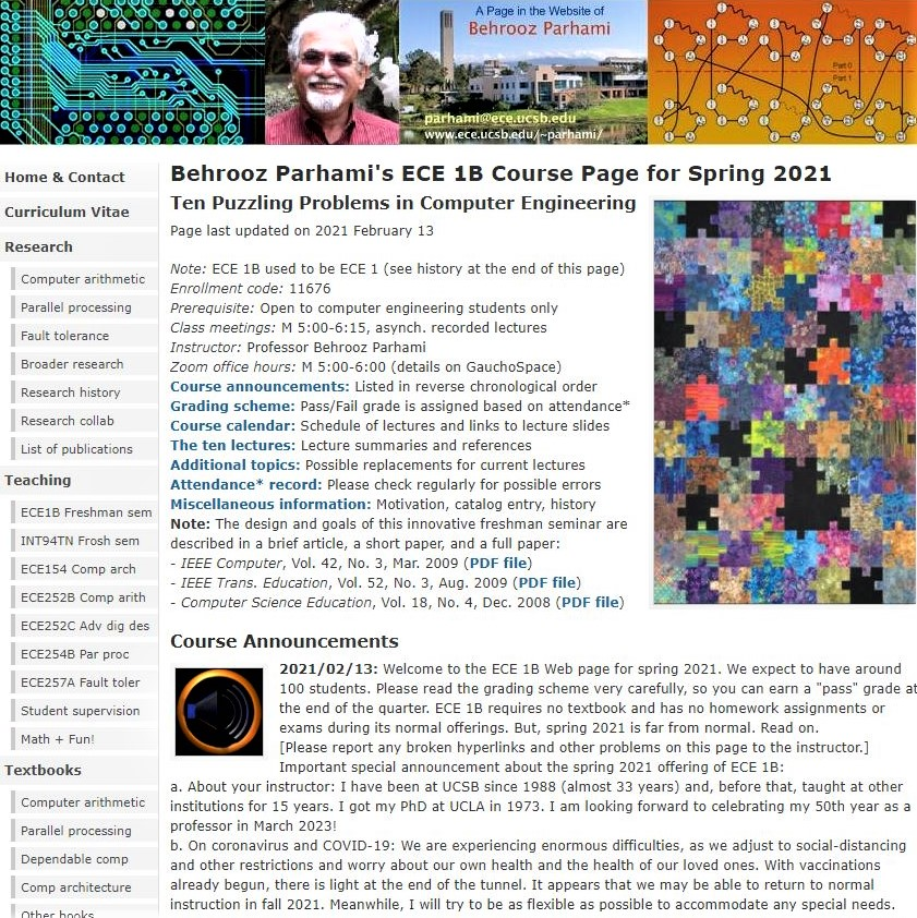 Image of the Web page for the UCSB graduate course ECE 1B