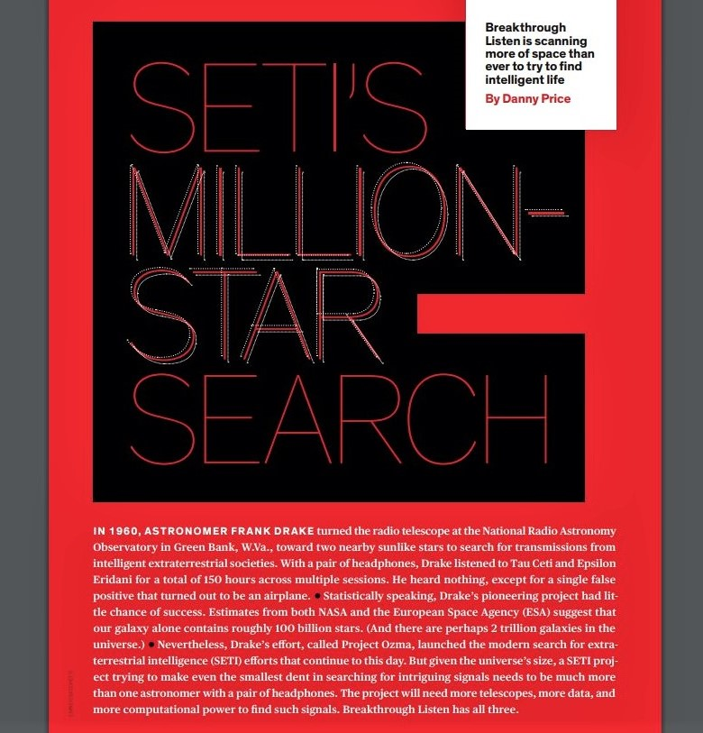 Image of the first page of an article on SETI in 'IEEE Spectrum' magazine, issue of February 2021